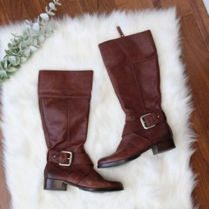 FOSSIL Brown Buckle Tall Knee-High Riding Boots